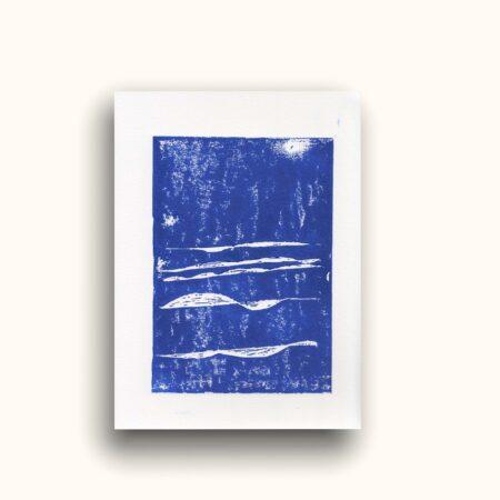 linogravure bleue - Cili Brtn
